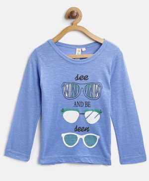 Kids On Board Full Sleeves See And Be Seen Printed Tee - Blue