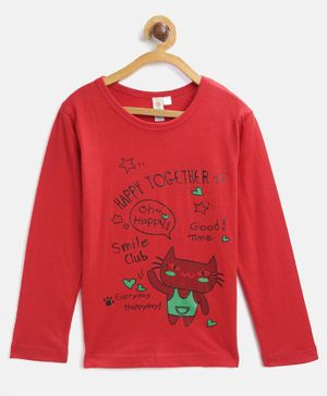 Kids On Board Full Sleeves Happy Together Print Tee - Red