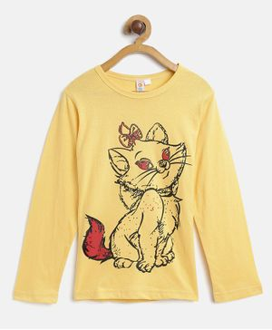 Kids On Board Full Sleeves Cat Print Top - Yellow