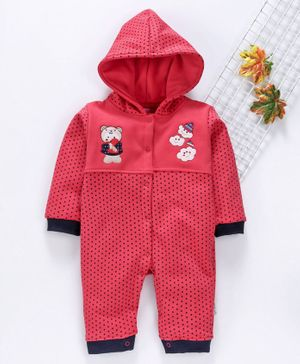 U R Cute Full Sleeves Polka Dot Print Hooded Romper - Red