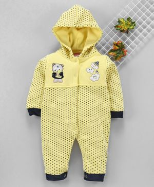 U R Cute Full Sleeves Polka Dot Print Hooded Romper - Yellow
