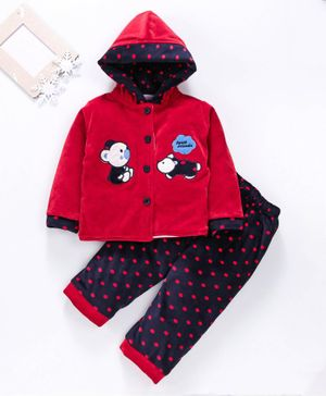 U R CUTE Full Sleeves Teddy Patch Detailed Hooded Jacket & Bottoms Set - Red