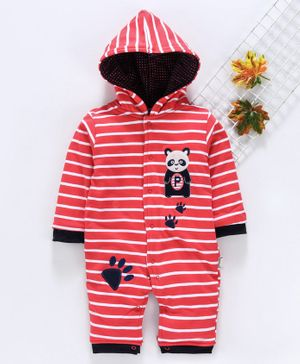 U R CUTE Full Sleeves Striped Panda Patch Hooded Romper - Red