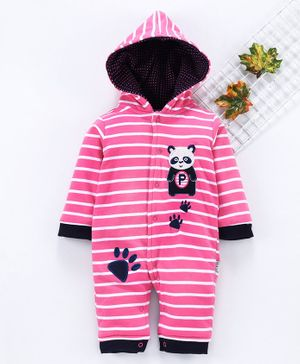U R Cute Full Sleeves Striped Panda Patch Hooded Romper - Pink