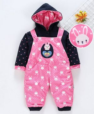 U R CUTE Full Sleeves Hooded Tee With all Over Bunny Print Dungaree - Pink