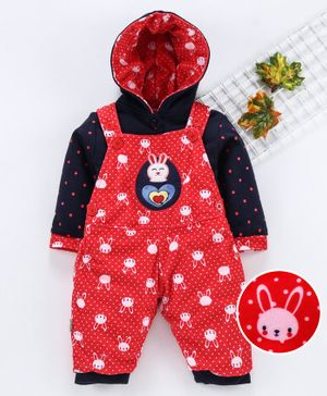 U R CUTE Full Sleeves Hooded Tee With all Over Bunny Print Dungaree - Red