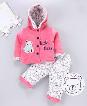 U R Cute Full Sleeves Hooded Teddy Bear Patch Jacket With Bottom - Pink White