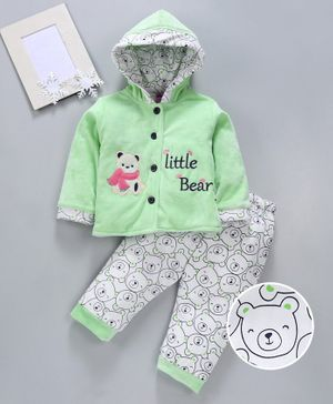 U R Cute Full Sleeves Hooded Teddy Bear Patch Jacket With Bottom - Green White