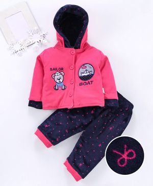 U R Cute Full Sleeves Teddy Patch Hooded Jacket With Bottom - Pink Blue