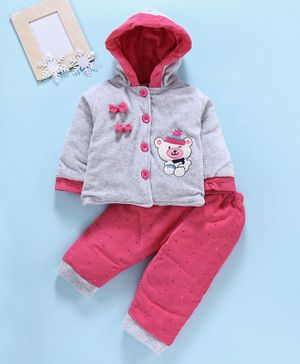 U R Cute Full Sleeves Teddy Patch Hooded Jacket With Bottom - Grey Pink