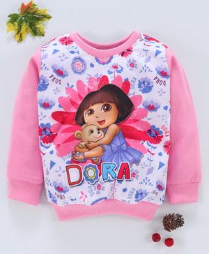 Eteenz Full Sleeves Sweatshirt Dora Print - Light Pink