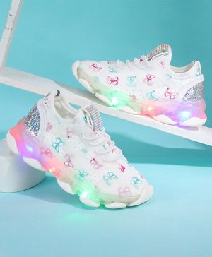 KIDLINGSS Butterfly Print Velcro Closure LED Shoes - White