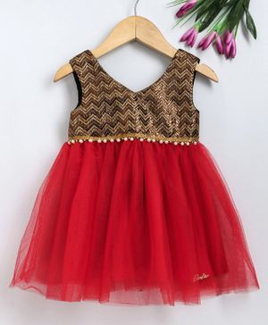 Barbie By Many Frocks & Sleeveless Chevron Pattern Tulle Flared Dress - Red