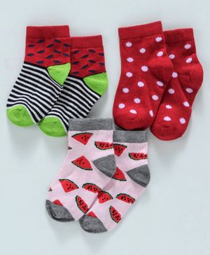 Cute Walk by Babyhug Anti Bacterial Ankle Length Non Terry Socks Pack of 3 Pair - Pink Red