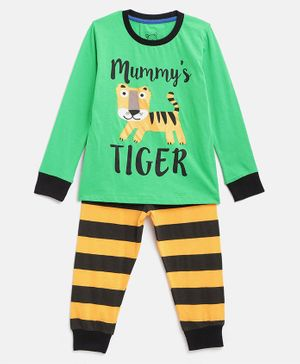 Little Marine Tiger Printed Full Sleeves Night Suit - Green