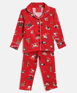 Little Marine Dogs Printed Full Sleeves Night Suit - Red