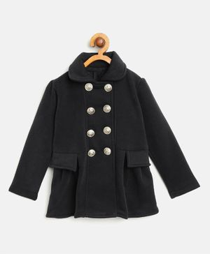 Little Marine Front Button Full Sleeves Jacket - Black