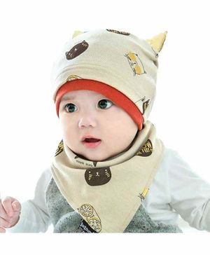 Syga Knitted Printed Cap With Scarf - Beige