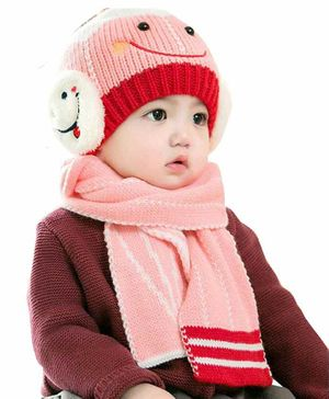Syga Knitted Cap With Scarf Set - Pink