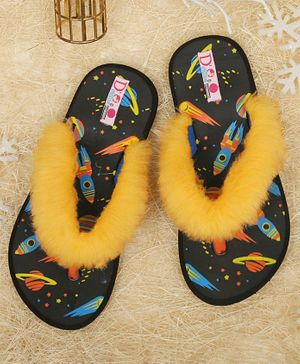 D'Chica Space Theme Fur Slippers - Black & Yellow