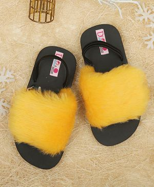 D'Chica Fur Sliders - Yellow