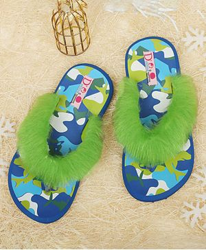 D'Chica Camouflage Print Fur Slippers - Blue & Green