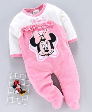 Babyhug Winter Wear Full Sleeves Sleepsuit Minnie Mouse Print - Pink