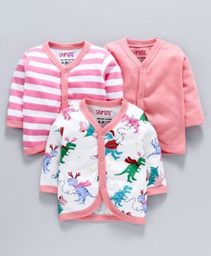 BUMZEE Combo Of 3 Dinosaur Printed Full Sleeves Vests - Pink