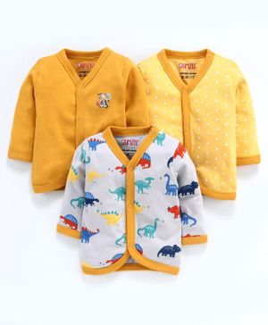 BUMZEE Combo Of 3 Dinosaur Printed Full Sleeves Vests - Yellow