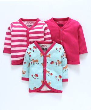 BUMZEE Combo Of 3 Deer Printed Full Sleeves Vests - Pink