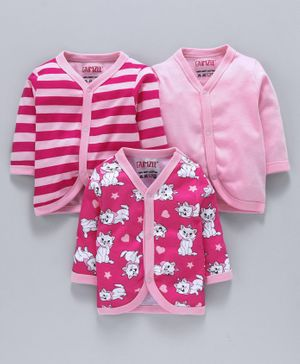 BUMZEE Combo Of 3 Cat Printed Full Sleeves Vests - Pink