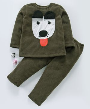 Hugsntugs Dog Patch Detailed Full Sleeves Night Suit - Dark Green