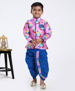 Ridokidz Full Sleeves Kite Print Kurta With Dhoti - Pink Blue