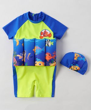 Babyhug Half Sleeves Swimming Float Fish Print - Blue Green
