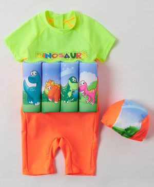 Babyhug Half Sleeves Swimming Float with Cap Dinosaur Print - Green Orange