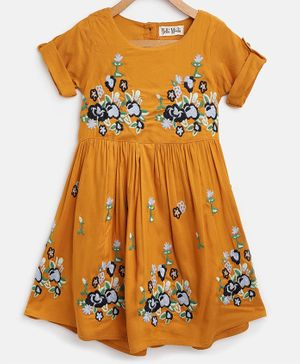 Bella Moda Floral Embroidered Half Sleeves Dress - Mustard Yellow