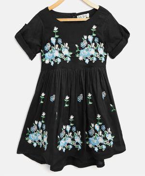 Bella Moda Floral Embroidered Half Sleeves Dress - Black