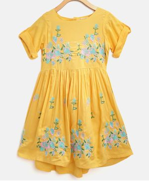 Bella Moda Floral Embroidered Half Sleeves Dress - Yellow