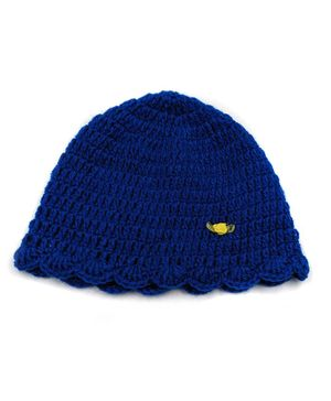 Magic Needles Handmade Bordered Crochet Cap - Dark Blue