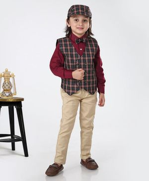 Dapper Dudes Full Sleeves Shirt With Checkered Waistcoat & Pants With Bow Tie & Cap - Maroon & Green