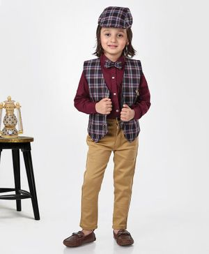 Dapper Dudes Full Sleeves Shirt With Checkered Waistcoat & Pants With Bow Tie & Cap - Maroon & Purple
