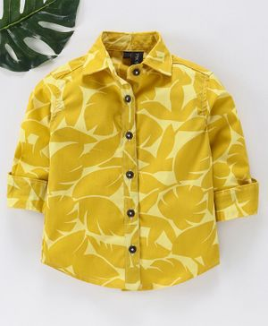 Pikaboo Tropical Leaves Printed Full Sleeves Shirt - Yellow