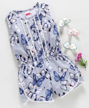 Babyhug Sleeveless Jumpsuit Butterfly Print - Blue