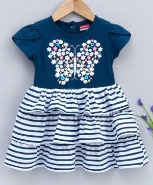 Babyhug Short Sleeves Layered Frock Striped & Butterfly Print - Blue
