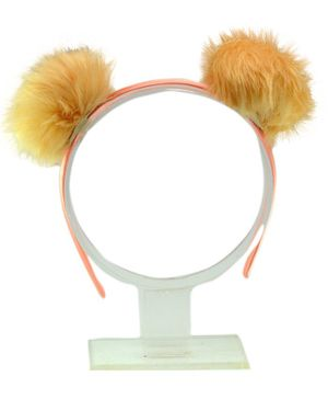 Aye Candy Fur Pompom Hair Band - Peach