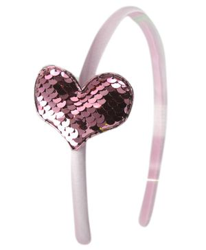 Aye Candy Sequin Heart Design Hair Band - Pink