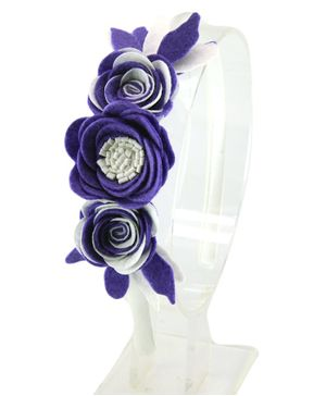 Aye Candy Flowers Design Hair Band - Purple
