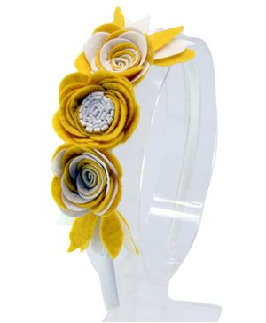Aye Candy Flowers Design Hair Band - Yellow