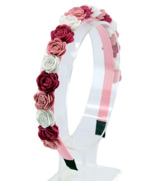 Aye Candy Flowers Decorated Hair Band - Pink