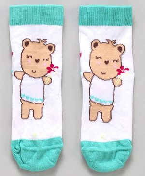 Mustang Ankle Length Socks Teddy Print - Blue